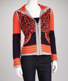 209 WST Midnight Spice Stripe Leopard Zip-Up Hoodie