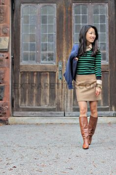 Preppy fall/ winter outfit with rugby sweater layered on top of a collared shirt (and pearls) with a skirt