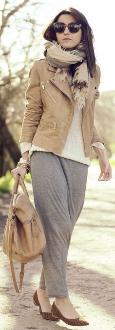 Fall/ winter outfit ideas. Grey maxi skirt. Camel jacket/ scarf. Creamy white sweater.  Anine Bing Cream Spring Sweater by Lovely Pepa