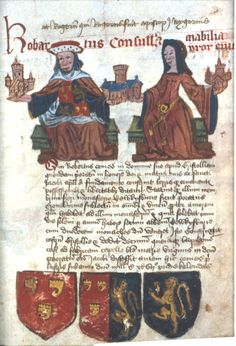 """Robartus Consull et Mabilia uxor eius (""""Robert Consul and Mabel his wife""""). They are shown holding churches or abbeys which they founded or were benefactors of, including Tewkesbury Abbey."""