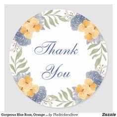 Gorgeous Blue Rose, Orange with Foliage Thank You Classic Round Sticker