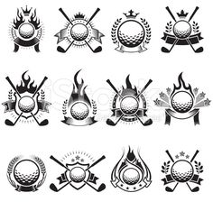 Golf Ball Badges black and white royalty-free vector icon set – royalty-free 벡터 아트 일러스트