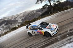Sebastien Ogier of France and Julien Ingrassia of France compete in their Volkswagen Motorsport Volkswagen Polo WRC during Day One of the WRC Monte-Carlo on January 16, 2013 in Valence , France.