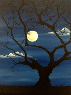 Learn to Paint Spooky Sundown tonight at Paint Nite! Our artists know exactly how to teach painters of all levels - give it a try! Silhouette Painting, Tree Silhouette, Silhouette Drawings, Acrylic Painting For Beginners, Painting Techniques, Moon Painting, Painting Art, Fall Tree Painting, Moonlight Painting