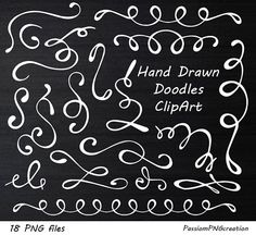 White Hand Drawn Doodles Clipart Divider Elements PNG