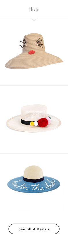 """""""Hats"""" by venus-in-fleurs ❤ liked on Polyvore featuring accessories, hats, natural, wide brim hat, round hat, round straw hat, braid crown, brim straw hat, pompom hat and straw hat"""