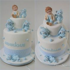 .white cake with blue teddy bears