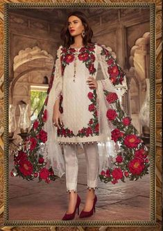 Fabric Details 👇🏻 Top : Pure Cotton Heavy Embroidery with pearls and stones work Sleeves : Pure Cotton Heavy Embroidery with stones work Bottom : Pure Cotton Dupatta : Chiffon Digital Printed Pakistani Fashion Party Wear, Pakistani Bridal Wear, Pakistani Dress Design, Pakistani Outfits, Indian Outfits, Fancy Dress Design, Stylish Dress Designs, Stylish Dresses, Fashion Dresses