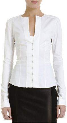 Narciso Rodriguez Hooked Front Blouse       Always a staple in my closet, crisp white blouses of subtle style differences, closures, collars, fabrics; such as cotton, silk, and linen.