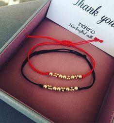 14K solid yellow gold beads bracelets #ingriko #gold #redandblack