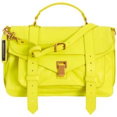 Proenza Schouler Neon Yellow PS1 Leather Bag