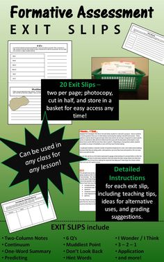 Twenty formative assessment exit slips that work with all content areas!