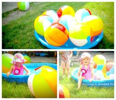 Do you have a younger crowd at your beach or luau party - blow up a bunch of beach balls for decorations and have a kids pool for the little ones to play in #beach #luau #party