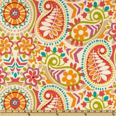 Waverly Paisley Prism Twill Sorbet from @fabricdotcom  Screen printed on cotton twill, this medium weight fabric is very versatile. This fabric is perfect for window treatments (draperies, valances, curtains, and swags), bed skirts, duvet covers, pillow shams, accent pillows, tote bags, aprons and upholstery. Colors include purple, tangerine, red, coral, khaki, lime and teal on an ivory background.