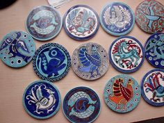 9cm ceramic coasters handmade by Meral