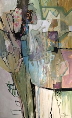 """'Seeds Of Kindness' abstract floral in pastel palette 60""""x30 By Dorothy Ganek"""