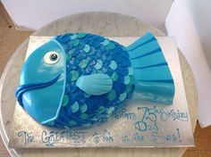 Blue fish shaped cake