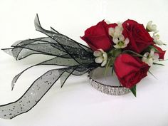 wrist corsage for homecoming for black dress | Red Prom Corsage The wrist corsage above is a