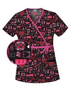 43f27481410 Caring For The Cause Mock Wrap Scrub Top #pinkribbon medicalscrubsmall.com.  Laura Fulton · nurse scrubs