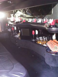 The bar inside the limo stocked to go to the S.F. Giants game