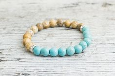 Brown jasper stone and turquoise beaded stretchy bracelet, made to order yoga bracelet, mens bracelet, womens bracelet