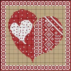 ~ Captured Heart ~ Red & White Cross-Stitch w/ Chart....