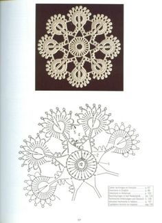 Creations Crochet D& - Malinka-Malinka Photo from album Crochet Snowflake Pattern, Irish Crochet Patterns, Crochet Doily Patterns, Crochet Snowflakes, Crochet Diagram, Freeform Crochet, Crochet Chart, Crochet Squares, Crochet Designs