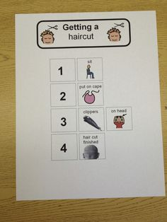 The Autism Tank: Home Visits: Part Two  Visual schedule example for a haircut.