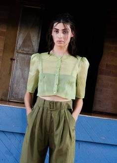 Penny Sage Paloma shirt - pistachio on Garmentory Short Dresses, Summer Dresses, French Seam, Silk Organza, Basic Style, Pistachio, Special Occasion Dresses, Style Guides, Spring Summer Fashion