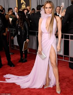 Stunning entrance: On Sunday, Jennifer Lopez talked about the rapper while on the red carpet at the Grammy Awards in Los Angeles