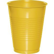 School Bus Yellow Party Supplies 16 oz. Plastic Cups (20 ct)