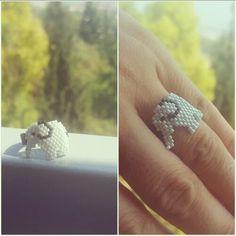 Bead ring, miyuki, delica, toho, perles, boncuk, handmade, beading, elephant, worldofdiamond07.blogspot.com