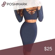Two piece Navy Crop top and Midi Skirt Warm, soft, Midi and crop combo that can be worn as separates with jeans and a bralette or together. Beautiful navy color. small recommended for smaller chests, otherwise the medium is perfect! Dresses Midi