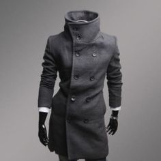 Fashion casual wool long men's jackets coat - ebuy24hours.com Baby Blue Dresses, Light Blue Dresses, Blue Wedding Dresses, Baby Dress, Men's Coats And Jackets, Sharp Dressed Man, Mens Fashion, Fashion Outfits, Fit And Flare