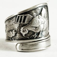 Chicken Ring with Mother Hen with Chicks Sterling by Spoonier