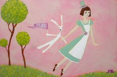 Flying Girl Goes to the Tea Party or Play limited by rowena murillo, (my daughter's favorite... I painted it for her)