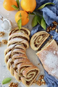 Sliced Nut Roll with Powdered Sugar Hungarian Recipes, Italian Recipes, Czech Recipes, Hungarian Nut Roll Recipe, Hungarian Desserts, Slovak Recipes, Yule, Polish Recipes, Polish Nut Roll Recipe