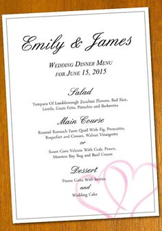 free Wedding Menu template for a DIY project