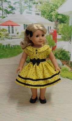Bee Line  vintage style dress for American Girl by cupcakecutiepie
