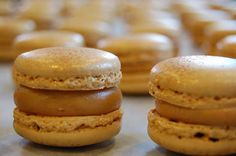 Mel's Note: Phenomenal is the only word to describe this filling. Didn't say when to add the fleur de eel so I sprinkled it on before topping with the other meringue top. Finally a Fleur de Sel Caramel Macaron recipe, this one is from Baroque Bistro! Yummy!