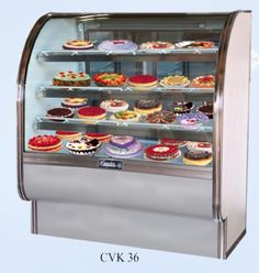 "Leader CVK36 - 36"" Curved Glass Dry Bakery Display Case - Counter Height"