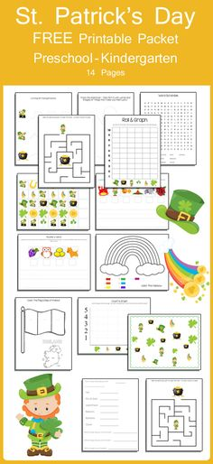 This is an amazing St. Patrick's Day themed Printable Packet for your preschooler or kindergartner. 14 pages of fun and educational pages! Preschool Lessons, Preschool Activities, Preschool Books, Preschool Curriculum, Free Preschool, Preschool Kindergarten, St Patricks Day Crafts For Kids, St Patrick Day Activities, March Themes