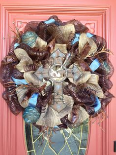 Cowboy Cross Mesh wreath by Glitzy Wreaths! www.facebook.com/glitzywreaths