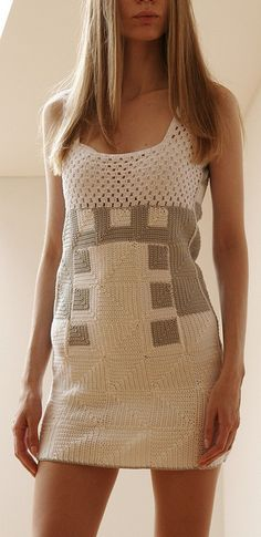 crochet dress...with some sliver and gold, or red and gold could be great for a christmas dress