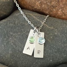Hand Stamped Double Tags with initial www.sewtree.com www.facebook.com/sewtreeproducts