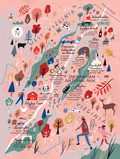 Our favorite things to see and do in Shenandoah—including scenic drives, great small towns, panoramic hikes, cool caverns, and fun museums. Shenandoah National Park, Shenandoah Valley, Travel Illustration, Flat Illustration, Map Design, City Maps, Fine Art Paper, Planer, Art Paintings