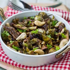 Brussels Sprouts, Chicken and Cashews