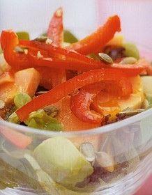 Papaya, Avocado & Red Pepper Salad Recipe http://www.mysaladrecipe.com/papaya-avocado-red-pepper-salad/