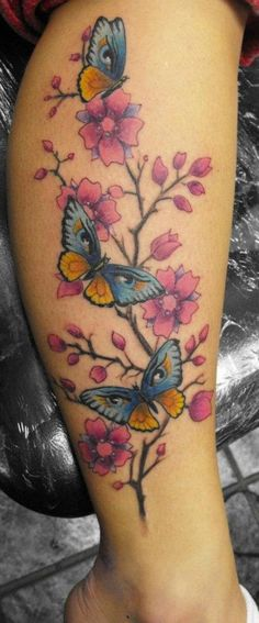 tattoo with stars on calf large winged pink butterfly tattoo on calf ...