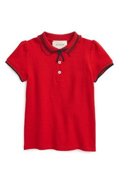 Free shipping and returns on Gucci Grosgrian Ribbon Polo (Little Girls & Big Girls) at Nordstrom.com. A scalloped collar finished with a dainty grosgrain ribbon keeps her pretty and primped for pictures, events or get-togethers in this stretch-cotton polo.